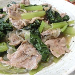 10分主菜☆ 豚こまと春雨と小松菜のオイスターソース炒め煮