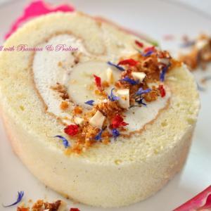 日曜日のティータイムに丸ごとバナナのロールケーキ