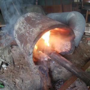 間伐材で陶芸