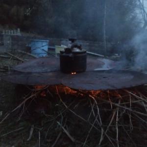 焚き火で陶芸と料理