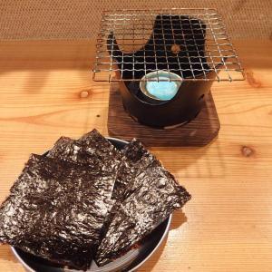 禁煙立呑みゼファー食堂@神戸・東川崎交差点角「明石の生板海苔をセルフで炙って焼きたての焼海苔が食べられるねん!」