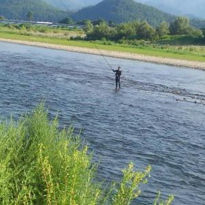 8月1日の会津大川   今日は真面目?に鮎釣りしました!