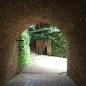 神奈川県横須賀市、猿島要塞のレンガ建築と砲台跡