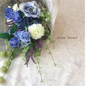 ブルーのローズが美しいブーケ♪アーティフィシャルフラワー