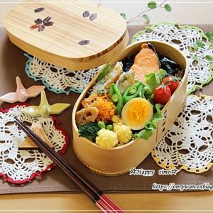 焼き鮭のり弁当とマヨなしポテトサラダ♪
