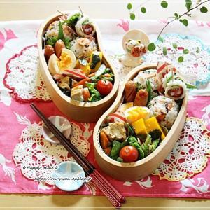 鮭と大葉の丸むすび弁当とおうちごはん♪