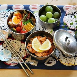 鮭ご飯と焼豚ゴーヤちゃんぷる弁当とパン焼き♪