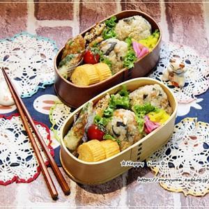 ストウブでわらびの炊き込みご飯おにぎり弁当♪