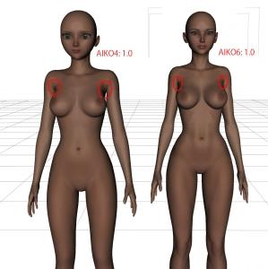 DAZ AIKO6のボディビルダー風ボディを女性らしい体にする検証