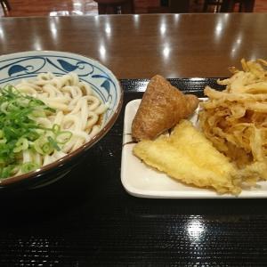 夕方、お腹がすいて、タマネギのかき揚げと温かいぶっかけ(大)、きす天といなり 食べて来ました!in丸亀製麺 郡山安積店