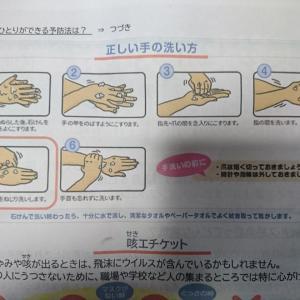 新型コロナウィルスはこまめな手洗いで予防しましょう!お医者さんも検査の前に、このように手洗いしているとのことでした。