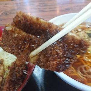 本日のデイナー、ソースかつ丼+ラーメン900円、あまりの美味しさにペロリ完食いたしました。「大観」本宮市行って来ました!