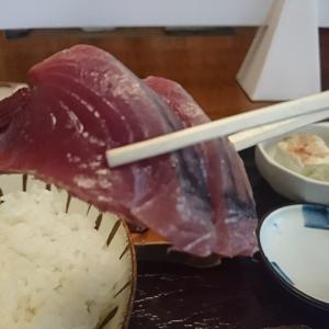 ついにいただき~!生カツオ刺定食 いやあ、たまらん、たまらん、やっぱ カツオはおいしいね。