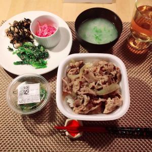 夕食はすき家の牛丼