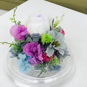 葉牡丹プリザーブドフラワー加工のドームお供え花