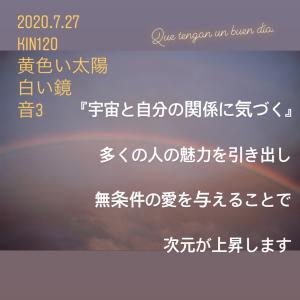 マヤ暦KIN120の今日は… 『宇宙と自分の関係に気づく』黄色い太陽 白い鏡 音3