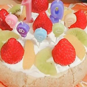 チーズケーキタルト誕生日ケーキで焼きました☆