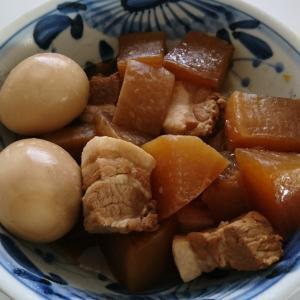 男の料理・・豚三枚肉&ゆで卵&大根の煮物