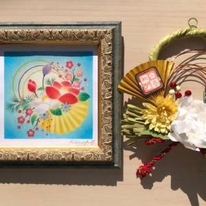 パステルアート「迎春〜椿姫」と、しめ縄飾り