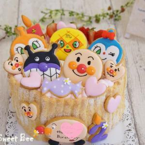 アイシングクッキーのアンパンマンケーキ①☆彡