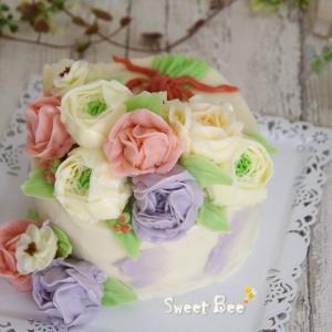 バタークリームのフラワーケーキ♡