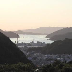 夕暮れ時の愛媛県宇和島市の湾とムクゲの花♪