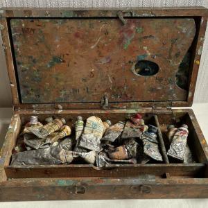 古い絵の具の木箱 古い画材セットの箱