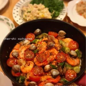 【レシピ】ワイン不使用でも絶品♡夏野菜とエビのアクアパッツァ♪ と 嫁入り菓子。と 二度見。