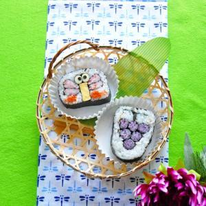 秋の絵柄 トンボとブドウの飾り巻き寿司
