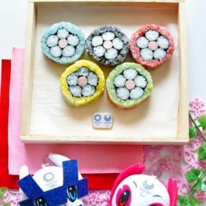 オリンピックカラーの飾り巻き寿司