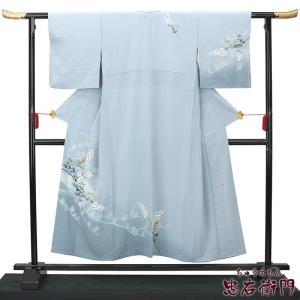 【新着】みんなが大好き!水色の手描き友禅の付け下げ着物