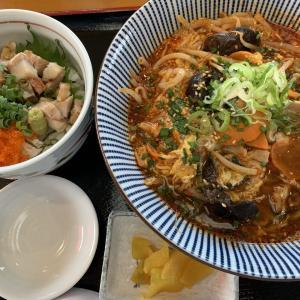 ミニ三色丼とユッケジャンラーメンセット★江釣子屋