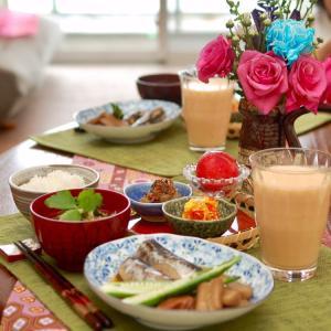 朝食*鰯の梅生姜煮、2色パプリカの甘酢漬け*アフターコロナの子育てサロン