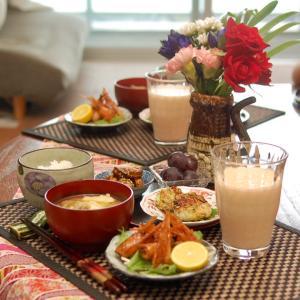 朝食*海老頭マヨ、山芋とズッキーニのガレット*チビッ子ギャング集団