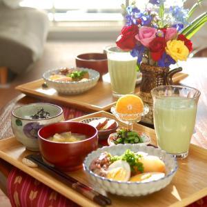 朝食*ヒイカと大根の煮物、いんげんの塩昆布和え*5年前の私と気が合った私