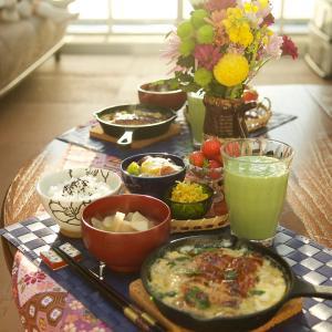 朝食*うなぎの柳川風、トマト春雨サラダ*【盛り付け】比較してみました!柳川編