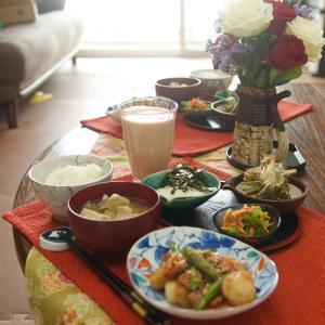 朝食*帆立といんげんの照焼き、ブロッコリーの胡麻和え*楽天マラソン購入品など