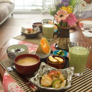 朝食*ベビー帆立とゴーヤの炒め、青海苔卵焼き*モデルナワクチン1回目摂取の副反応