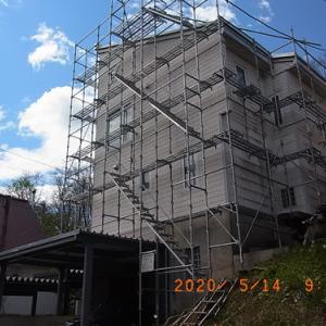 外壁修理(1日目) アンテナステー、軒先換気口