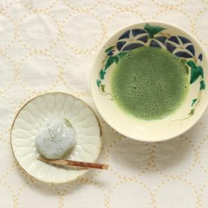 まん丸刺し子と、和菓子と、お抹茶と