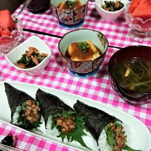 【おうちごはん】3種の味を楽しめる納豆手巻寿司 de 夕食。 と、息子弁当作りへの思い?