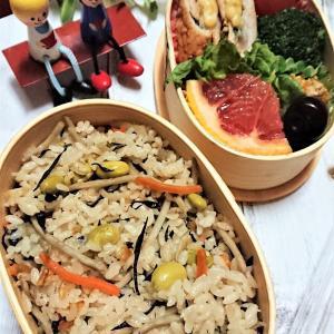 【息子弁当】たったの10分!?夕食からのスライド弁当!【炊込みご飯と肉巻きソテー弁当】。