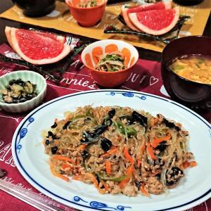 【おうちごはん】ツルツルと食べやすい!ご飯がすすむ1品!【春雨の中華炒めde夕食】。と、気温が…