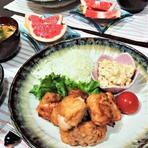 【おうちごはん】北海道名物!【鶏ザンギde夕食】。市販のタレも販売されています。
