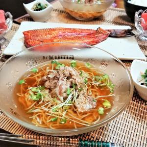【おうちごはん】暑すぎて、味噌汁代わりの「ミニ冷麺」プラスの夕食