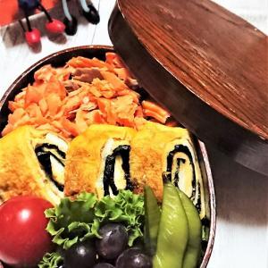【息子弁当】わっぱ弁への詰め方の工夫【鮭フレークのっけ弁当】実は・・・2段重ねの、のり弁です!!
