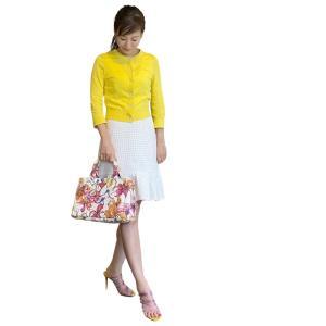 花柄PRADAカナパトートバッグの綺麗色コーディネート