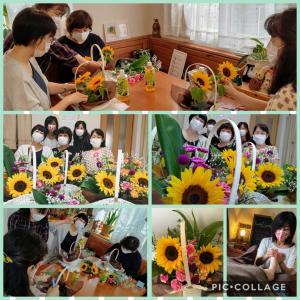 【夏のひまわりアレンジメントの会】開催しました。