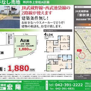 JR武蔵野線「新秋津駅」徒歩9分 売地の販売図面 & 3種類の参考プラン