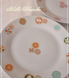 和柄のお皿と梅と紫陽花